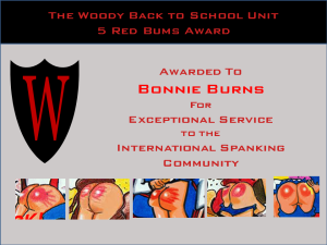 Five Red Bums Award Bonnie Burns